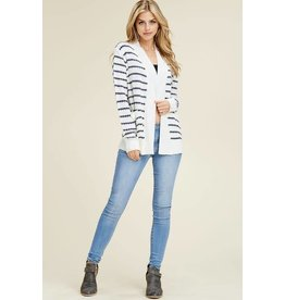 Staccato ARIA White/Navy Long Sleeve Stripe Cardigan with Pockets