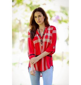 b-tween ALLISON Red Plaid 3/4 Roll Up Sleeve Blouse