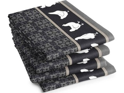 DDDDD DDDDD Chicken Tea Towel Grey 24x25 inch