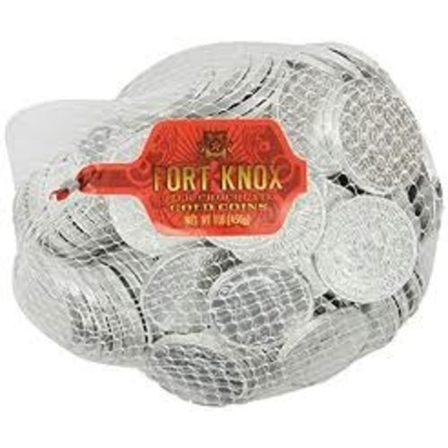 Fort Knox Silver Foil Chocolate Coins in Mesh Bag