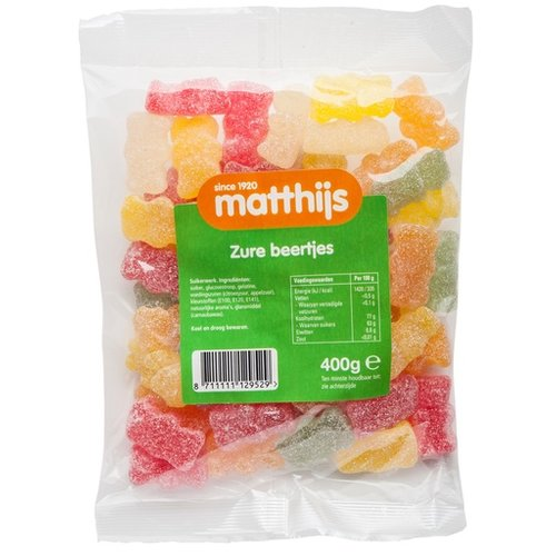 Matthijs Matthijs Sour Gummy Bears 400g