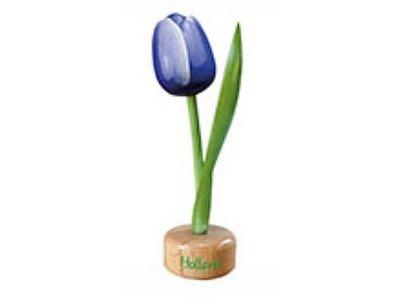 Tulip on Pedestal Blue/White 8 inch