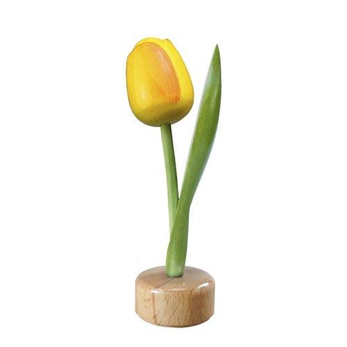 Tulip on Pedestal Yellow/Orange 8 inch