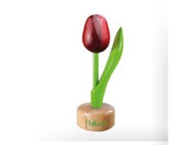Tulip on Pedestal Red/Augergine 8 inch