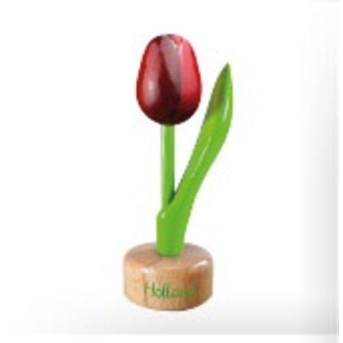 Tulip on Pedestal Red/Aubergine 8 inch