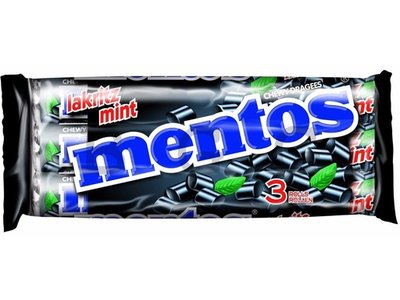 Van Melle Mentos Licorice 3 Pack Rolls