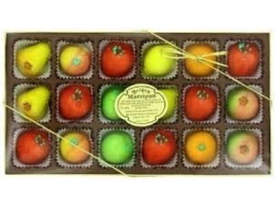 Bergen Deluxe Asst Fruit Marzipan Shapes gift box 8 oz