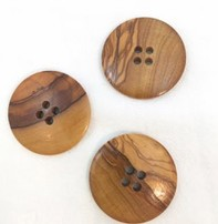 """Buttons, Etc. *Buttons - Wood, Round, 1/2"""", 4cm"""