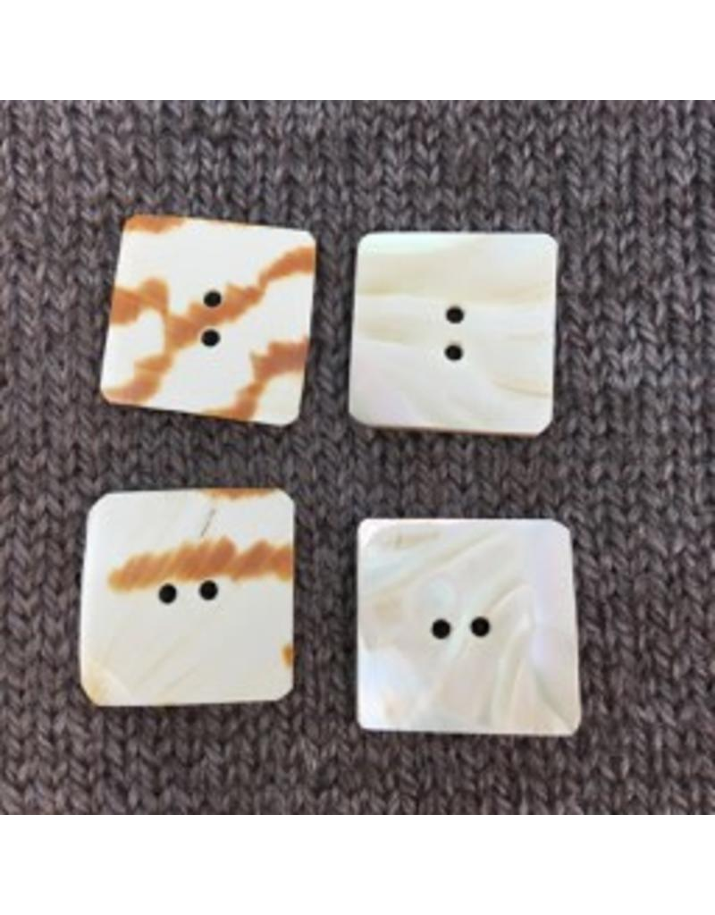 """Art of Yarn *Buttons - Shell, Square, White/Brown, 1"""", 2.5"""