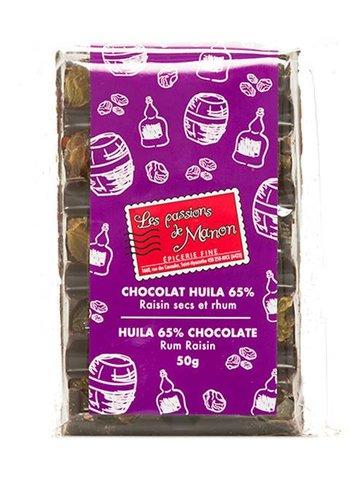 Barre de chocolat 65%  Huila raisins secs et rhum Les Passions de Manon - 50g