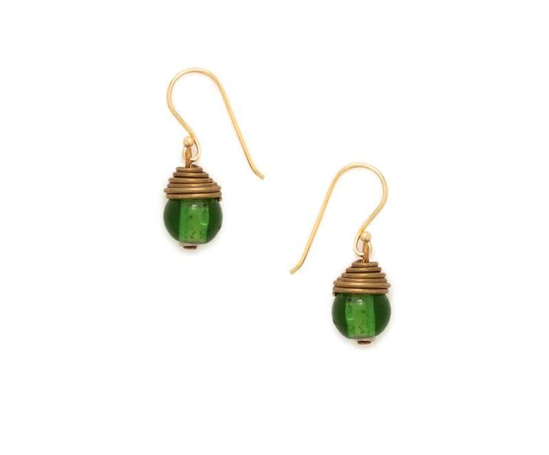 Earrings - Golden Wrapped Green