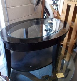Coffee Table Oval Black/Glass