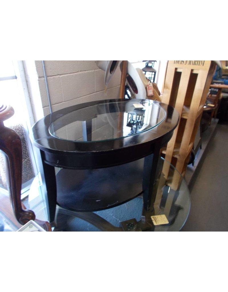 Coffee Table Oval Black/Glass