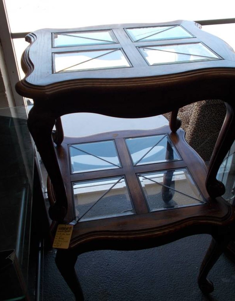 End Tables Pair Cherry/Glass