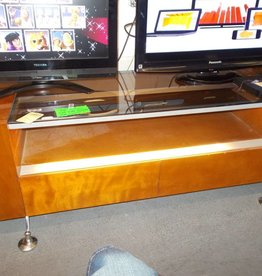 T.V. Stand Lighted Brown/Glass