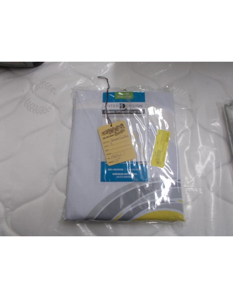 New shower curtain white/yellow