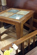 End table slate and cherry