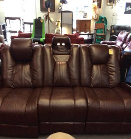 Electric dual reclining sofa brown leather