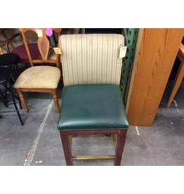 4 barstools green leather with striped backs