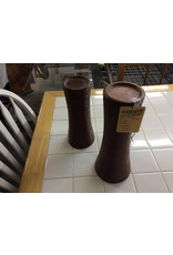Pair candle holders brown glass