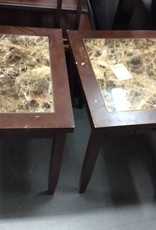 Pair end tables faux granite and cherry