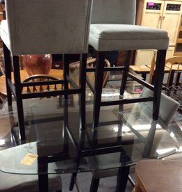 5 pc pub dinette glass and black