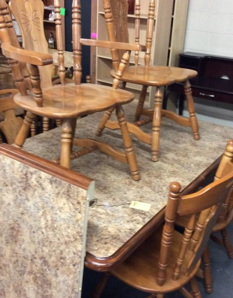 7 pc dinette faux top and oak with leaf