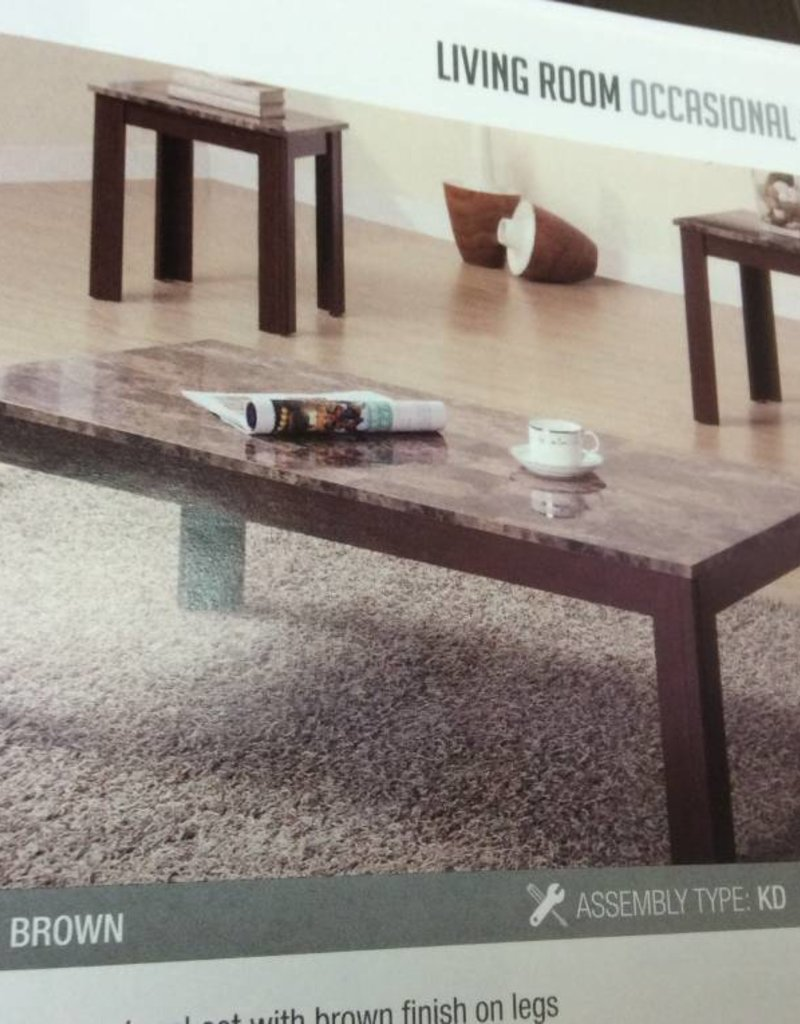 New 3 Pc Occ Set Coffee Table 2 End Tables Faux Marble Top