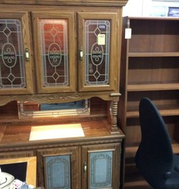 2 pc china hutch oak and glass