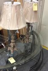 Pair bronze lamps