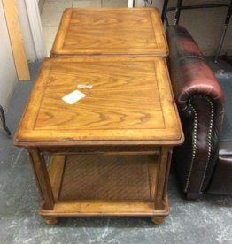 Pair end tables oak and wicker