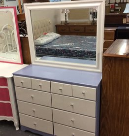 10 drawer dresser with mirror blue and white
