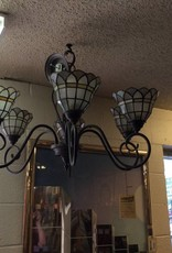 Hanging chandelier 2 tone glass