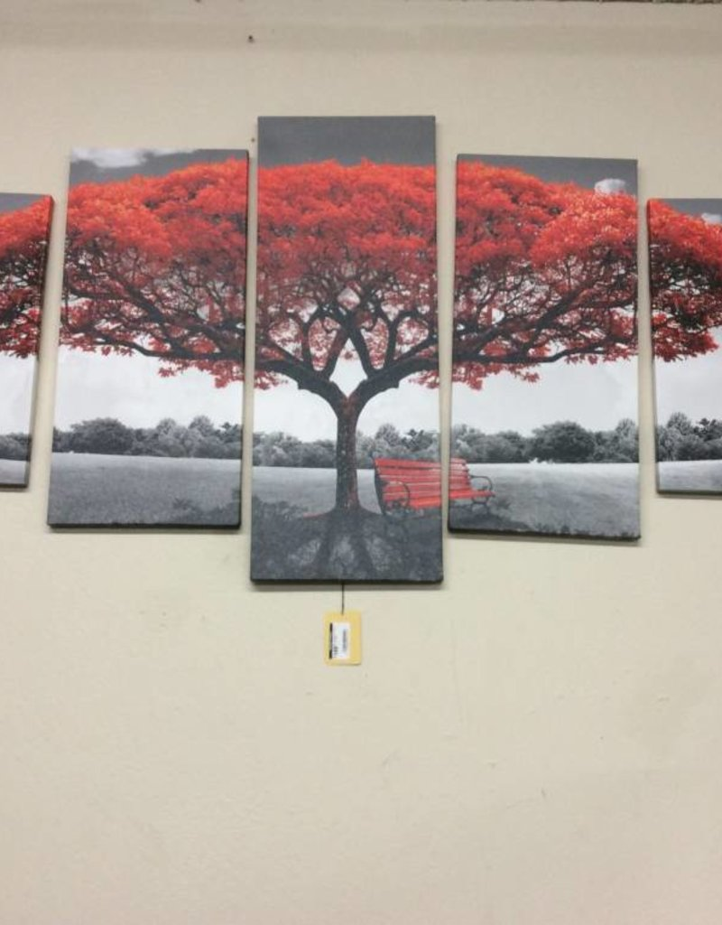 Picture 5 pc wall art red trees
