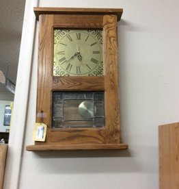 2' wall clock oak/glass