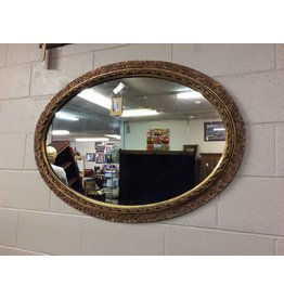 Hanging mirror oval gold