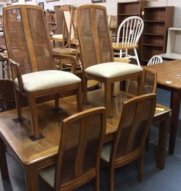 6 piece dinette oak and wicker