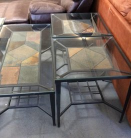 3 piece table set metal, slate and glass