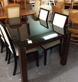 5 piece dinette glass and white