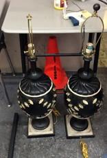 Pair lamps black and tan