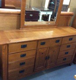 9 drawer dresser with mirror mission oak