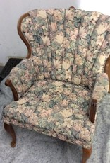 Antique arm chair floral and cherry