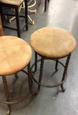 Pair bar stools / tan - metal