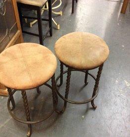 Pair bar stools / tan - metal