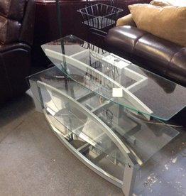 TV stand - silver / glass