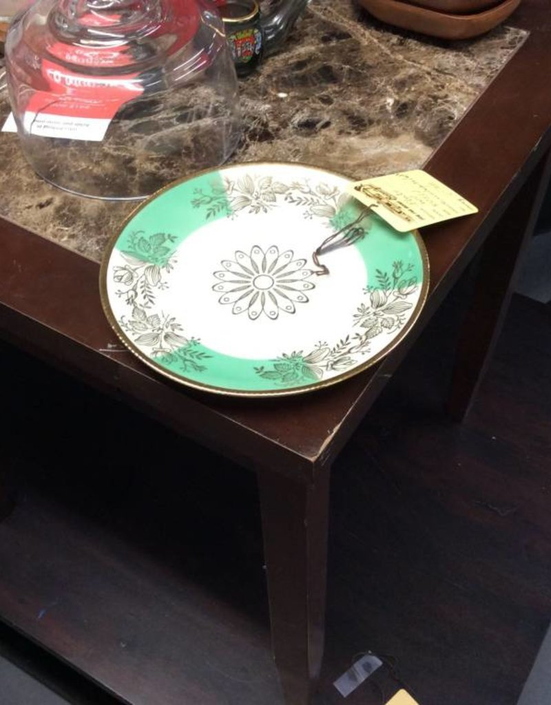 Plate green white and gold
