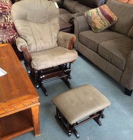 Glider rocker with ottoman brown
