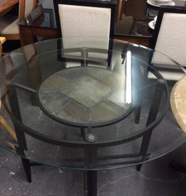 Table only black slate and glass