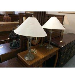 Pr table lamps silver