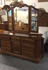 7 drawer dresser with cabinet medium oak